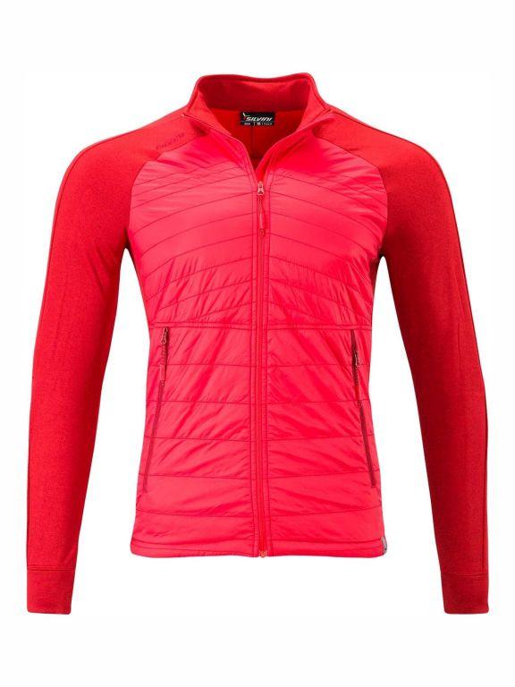 Męska bluza sportowa, z przodu ociellone panele, z tyłu przewiewna, oddychająca, Silvini Grado czerwona
