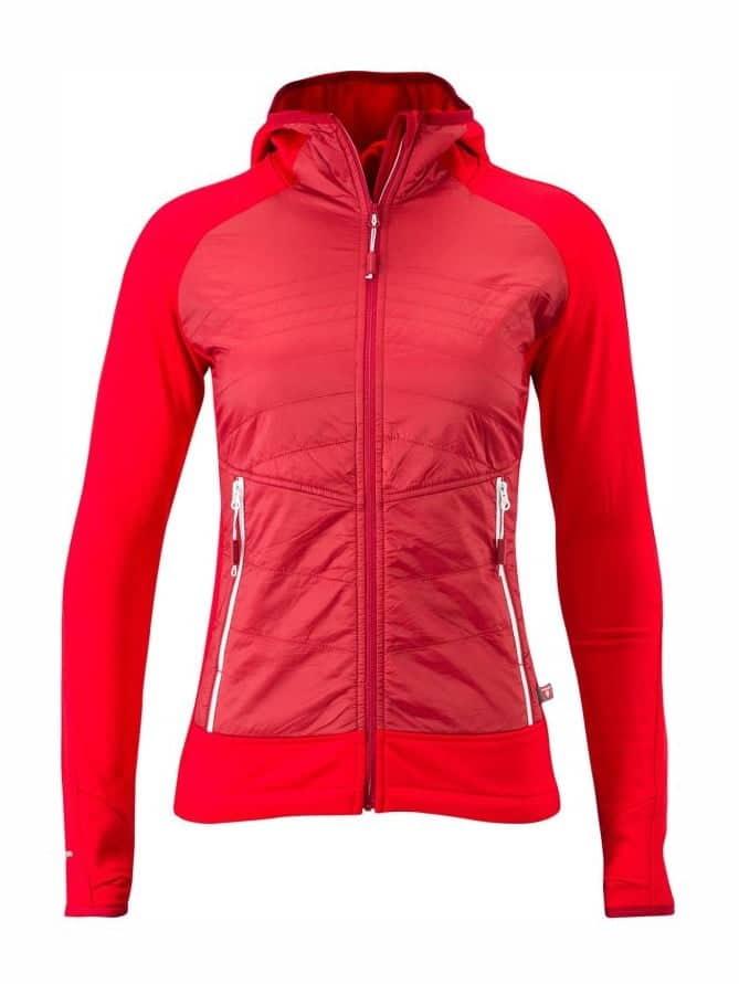 Damska bluza z kapturem, polarowa z nieprzewiewnymi panelami z przodu Silvini Divera WJ1311, czerwona